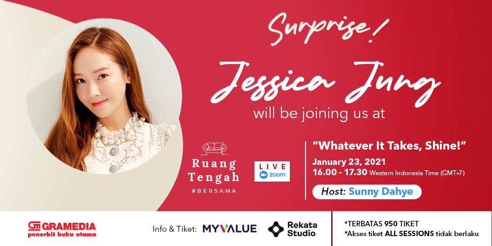 banner Jessica Jung: Whatever It Takes, Shine! dalam Ruang Tengah #Bersama Gramedia Pustaka Utama